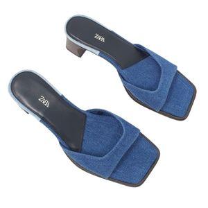 ZARA denim square toe heeled sandal slide